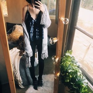 NWT Free People Navy Blue Sequin Top Crop New Year
